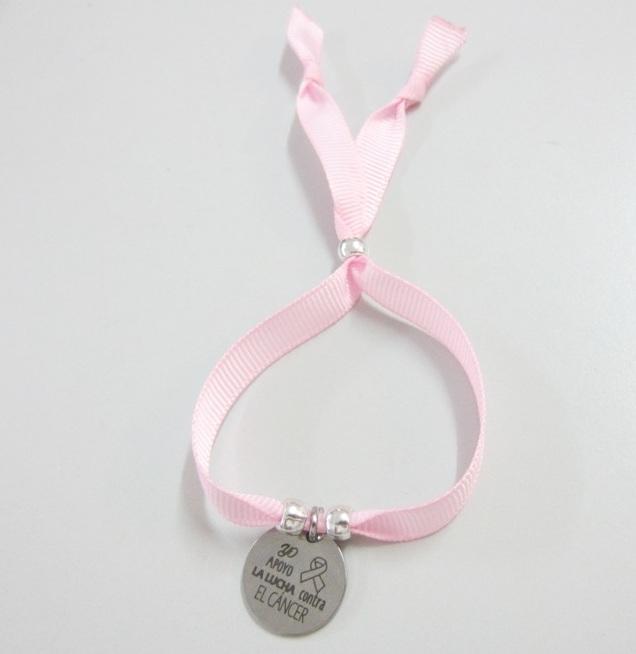 Kit de montaje pulsera cinta gros grain rosa. Yo apoyo la lucha contra el cáncer (Se entrega sin montar)