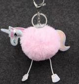 Pompon llavero unicornio sintético ROSA 13.5 X 12 mm