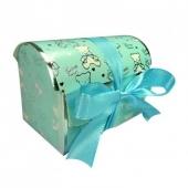 Cajita de cartón regalo bautizo. Medida: 7.7x5.1x4.5 cm