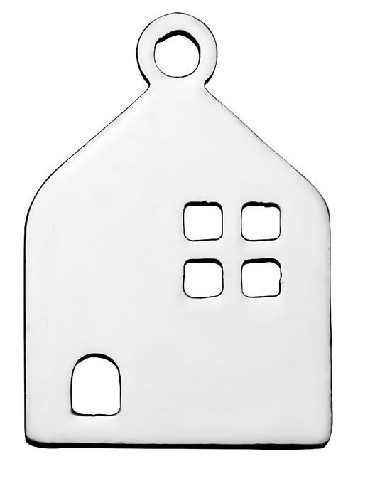 Colgante acero inoxidable casa 16x11x1mm. Agujero 1,5mm
