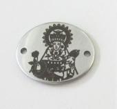 Conector Virgen Covadonga acero inoxidable pequeño 24x18mm. Agujero 1,5mm.