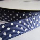 Cinta grosgrain azul marino con topos blancos 16mm. (Precio por metro)