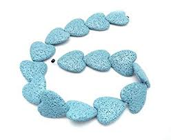 Abalorio de lava natural porosa corazón 20mm. Azul claro