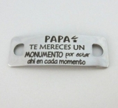 Conector inoxidable 41x14x1mm. pase 5mm. PAPA te mereces...