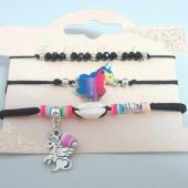 Conjunto de 3 pulseras ajustables de hilo negro con adorno en metal unicornio