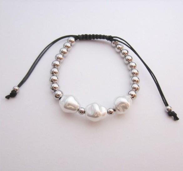 Pulsera cordón algodón ajustable acero inoxidable con imitación perla blanca