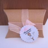 Kit de montaje cajita en forma de petaca papel Kraft (9x6,7x2,5cm) + tarjeta niña primera comunión + cinta de organza rosa
