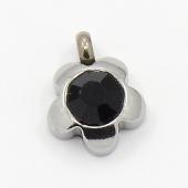 Colgante acero inoxidable flor con cristal facetado negro 9x7x4mm. Agujero 1,5mm