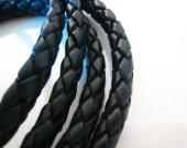 20 cms. Cuero redondo trenzado 5mm. negro (IMPORTACION)