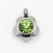 Colgante acero inoxidable flor con cristal facetado color verde 9x7x4mm. Agujero 1,5mm