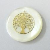 Colgante Nacar 20mm con adorno dorado árbol de la vida.