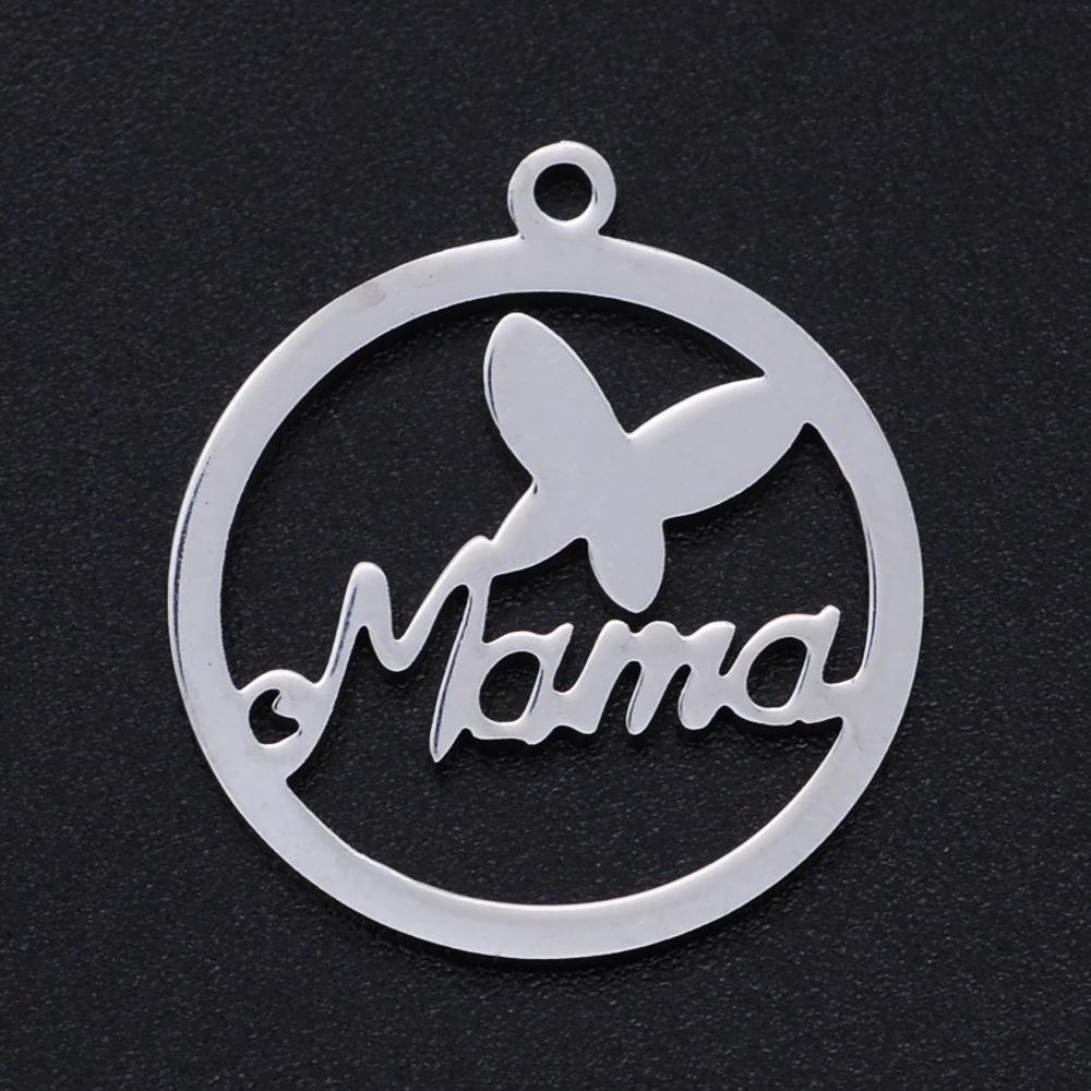 Colgante mama con mariposa acero inoxidable 201. Medidas 22x19x1mm. Agujero 1,4mm