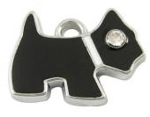 1 unidad. Colgante enamel perro negro con strass 16x20x1,5mm. Agujero 2mm