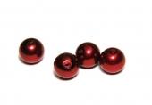 Abalorio bola acrílica 12mm rojo oscuro imitación perla. Pase 1,5mm
