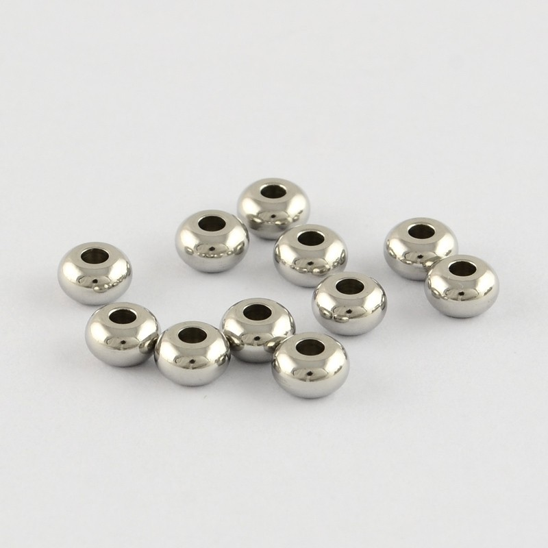 10 unidades. Rondel inoxidable 5x3mm. Pase 1,9-2mm