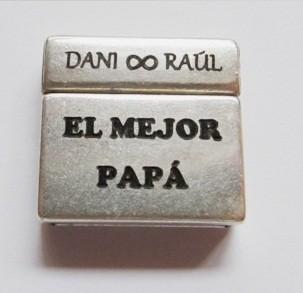 Cierre zamak magnetico 23x21mm. int. 20x2,5mm. baño de plata. Grabado EL MEJOR PAPA con nombre pesonalizado (plazo 4 días)
