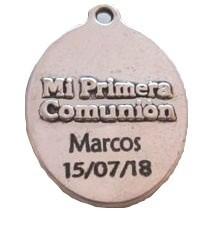 Kit de montaje llavero comunión aleación de metal con nombre y fecha grabado en laser. (SE ENTREGA SIN MONTAR)