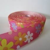 Cinta grosgrain estampado flor 25mm. (Precio por metro)