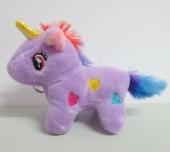Llavero peluche unicornio con corazones 80x90mm. Color Lila