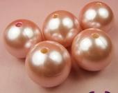 Abalorio bola acrílica 12mm rosa pastel imitación perla. Pase 1,5mm