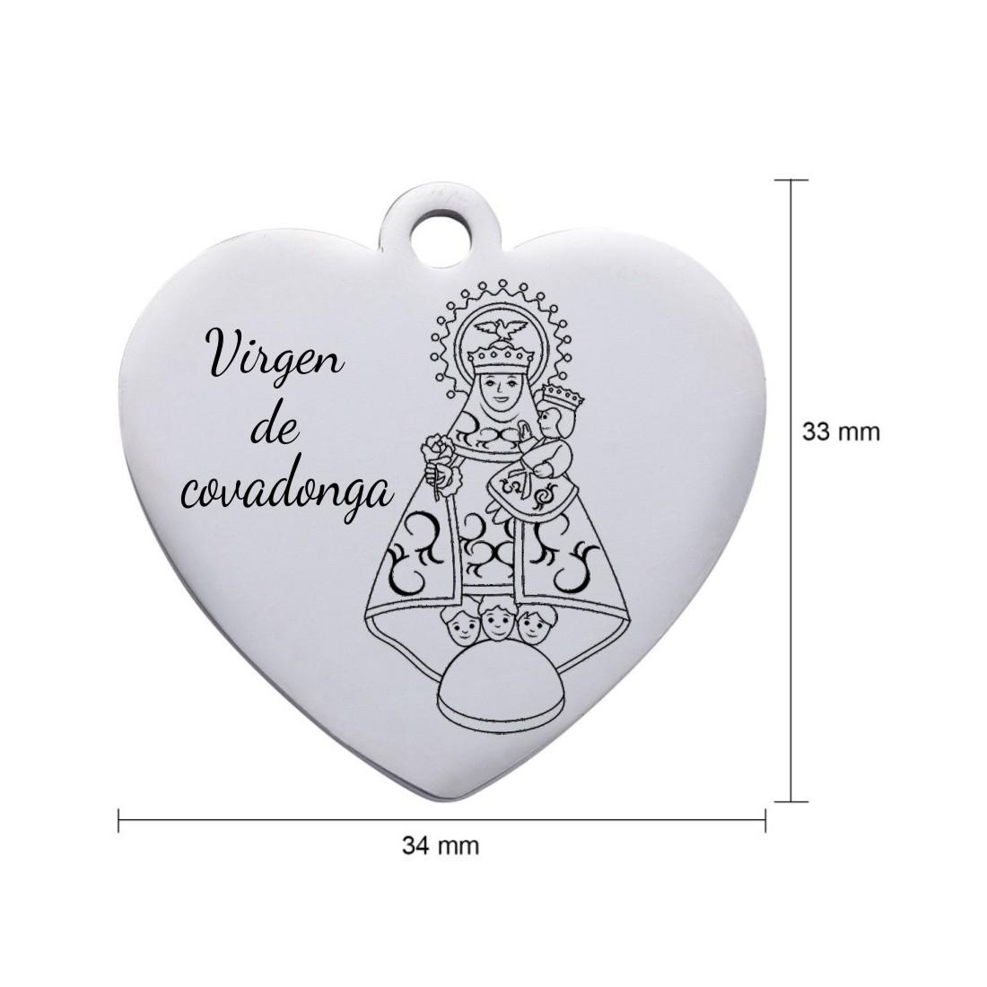 Colgante acero inoxidable 304 corazón 33 x 34 x 1,7mm. Agujero 2,8mm.  Virgen de Covadonga