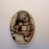 Cabuchon cristal niña con león 25x18mm. Mod. 151