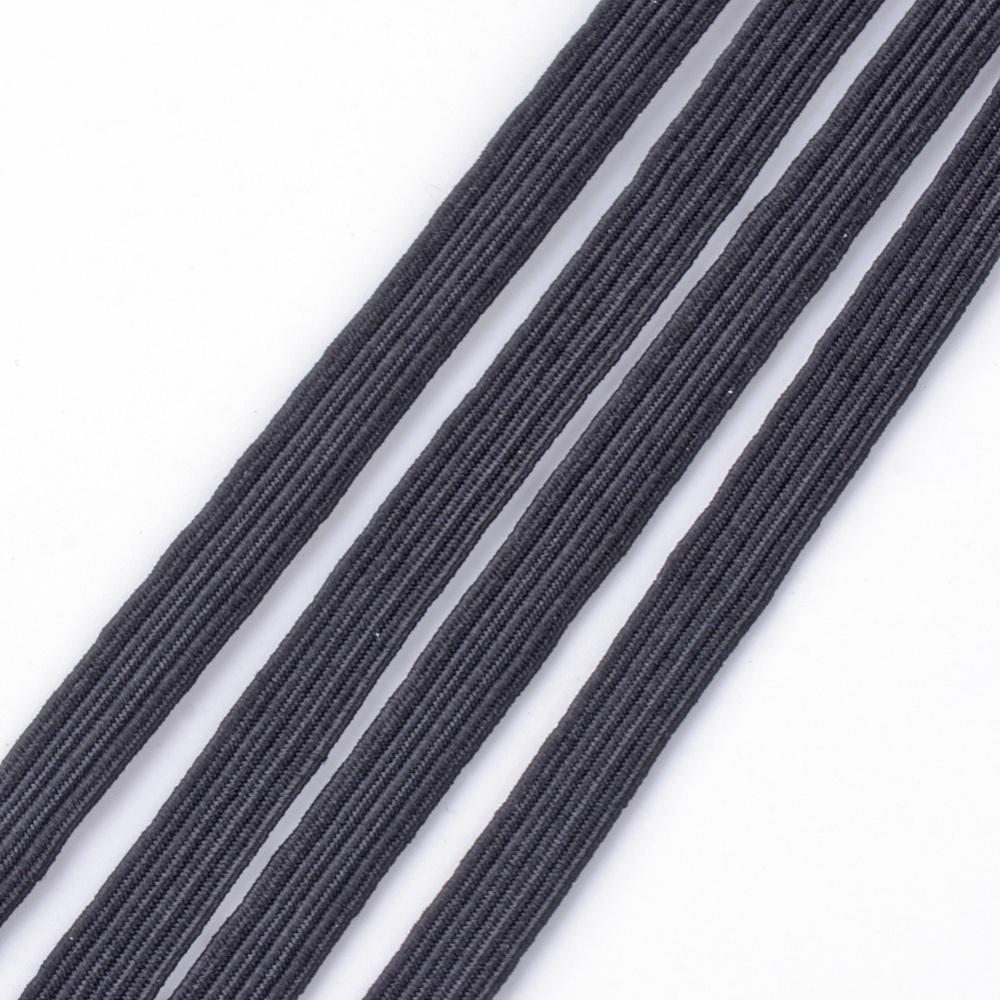 Bobina 170 Metros Aprox. Cinta elástica plana para mascarilla color negro. Ancho 6mm grosor 1mm.