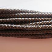 20 cms. Cuero redondo trenzado 5mm. marrón 2 tonos