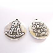 Medalla virgen del rocio 21mm. (cuida de mi familia) Zamak baño de plata