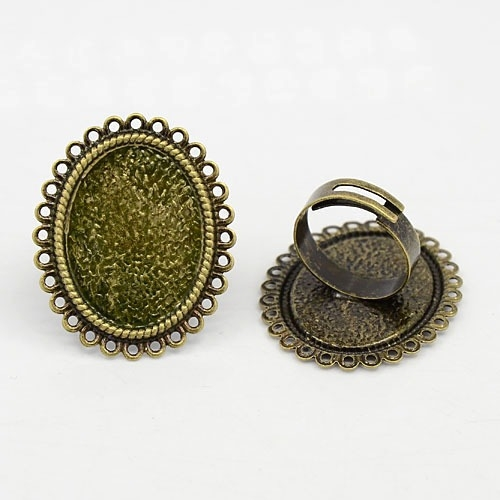 Base anillo ajustable oval 25x18mm bronce antiguo