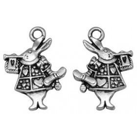 10 Unidades. Colgantes aleación de metal color plata vieja conejo Alice 20x15