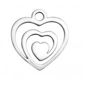 Colgante acero inoxidble corazón 9x12x1mm . Agujero1,5mm