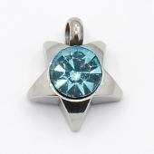 Colgante acero inoxidable estrella con cristal facetado color azul 9x8x3mm. Agujero 1,5mm