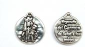 Medalla virgen del carmen 21mm. (da salud a los mios) Zamak baño de plata