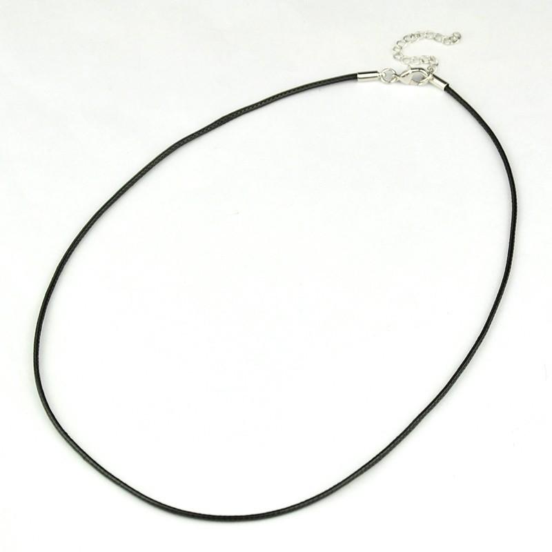 Base colgante cordon de algodón encerado 1,5mm. Longitud 45 cms. negro
