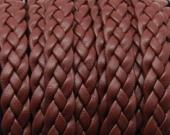 20 cms. Cuero plano trenzado 9x2mm. marrón. (Calidad superior)
