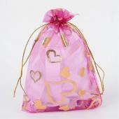 Bolsa organza rosa con dibujo corazones dorados 9x7mm.