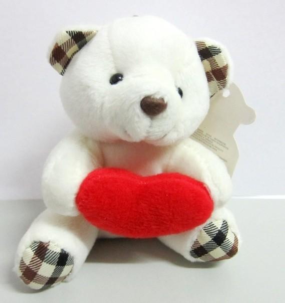 Llavero peluche oso con corazón 90x80mm. Color Blanco
