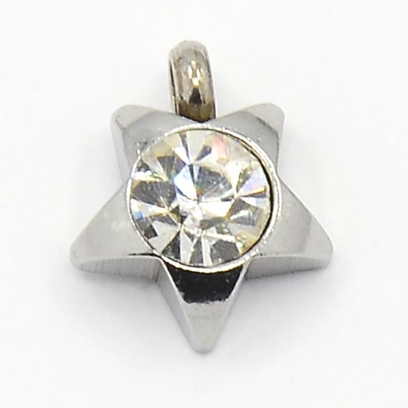 Colgante acero inoxidable estrella con cristal facetado color blanco 9x8x3mm. Agujero 1,5mm