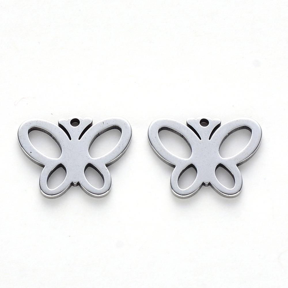 Colgante mariposa acero inoxidable 304. Tamaño 12x15x1mm. Agujero 1 mm