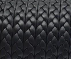 20 cms. Cuero plano trenzado 6,5x2mm. negro. (Calidad superior)