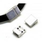 Cierre Zamak magnético baño de plata 13x3mm