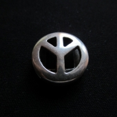Abalorios zamak baño de plata símbolo de la paz. 18mm, pase 13x2,5mm