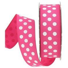 Cinta grosgrain rosa fuerte con topos blancos 9mm. (Precio por metro)