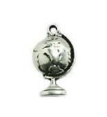 colgante zamak baño de plata bola del mundo  15x4mm. anilla 1mm