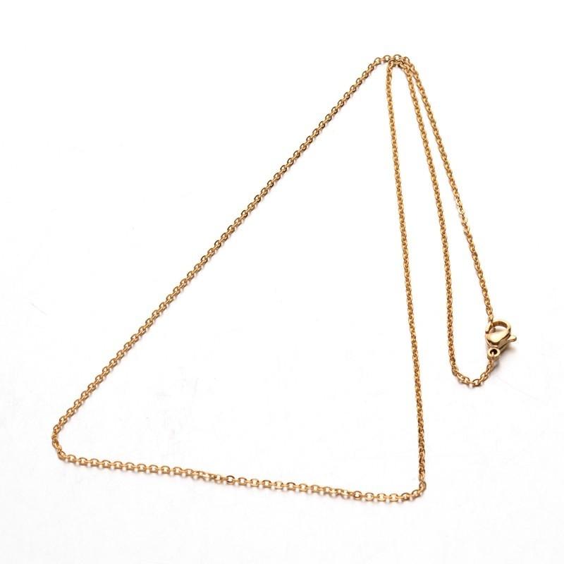 Cadena acero inoxidable color dorado 2x1.5x0.2mm. 50 cms