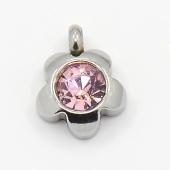Colgante acero inoxidable flor con cristal facetado color rosa 9x7x4mm. Agujero 1,5mm