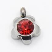 Colgante acero inoxidable flor con cristal facetado color rojo 9x7x4mm. Agujero 1,5mm