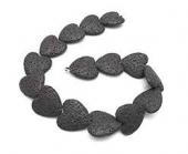 Abalorio de lava natural porosa corazón 20mm. Negro