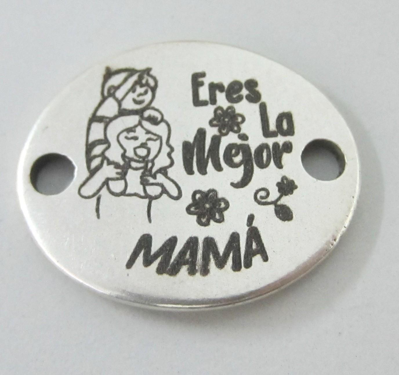 Conector zamak baño de plata 24x20mm. (NIÑO) Eres la mejor mamá
